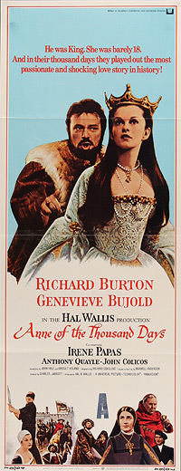 Movie poster for Anne of a Thousand Days scanned from an original in the Northernstars Collection.