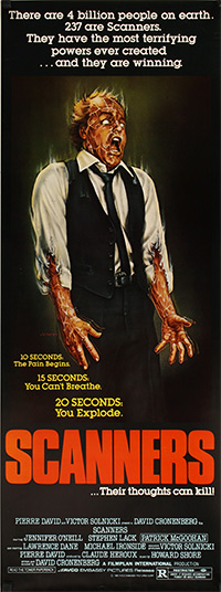 This poster for Scanners was scanned from an original in the Northernstars Collection.