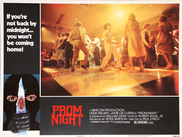 Lobby Card for Prom Night scanned from an original in the Northernstars Collection.
