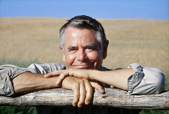 """Glenn Ford as """"Pa"""" Kent in a publcity still for the 1978 film Superman: The Movie."""