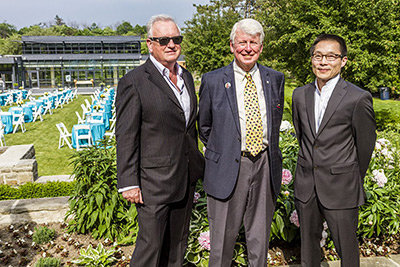 ;Drummond Hassan, Record Architect, Northern Dancer Pavilion, with Donald Ross, Lead Individual Donor, Northern Dancer Pavilion, and Ken Fukushima, Design Architect, Northern dancer Pavilion. Photo by Trevor Haldenby;