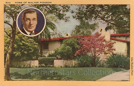 Walter Pidgeon, Hollywood home, postcard,