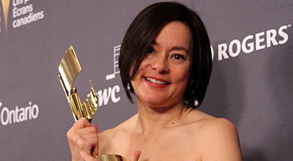 Meg Tilly with her 2013 Canadian Screen Award for Bomb Girls. Photo © 2013 by Ralph Lucas
